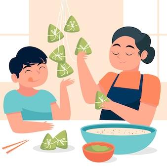 Hand drawn family preparing zongzi illustrated