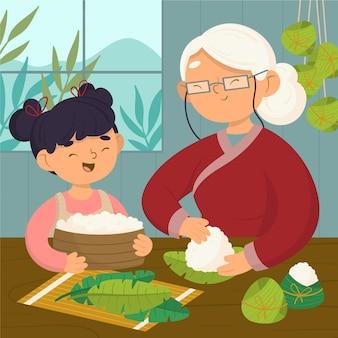 Famiglia disegnata a mano che prepara zongzi