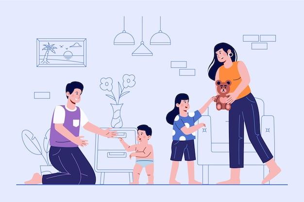 手描き家族シーンイラスト