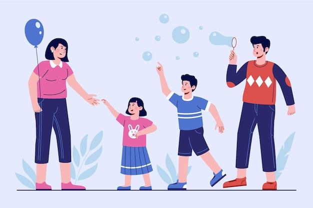 Hand drawn family scene illustration