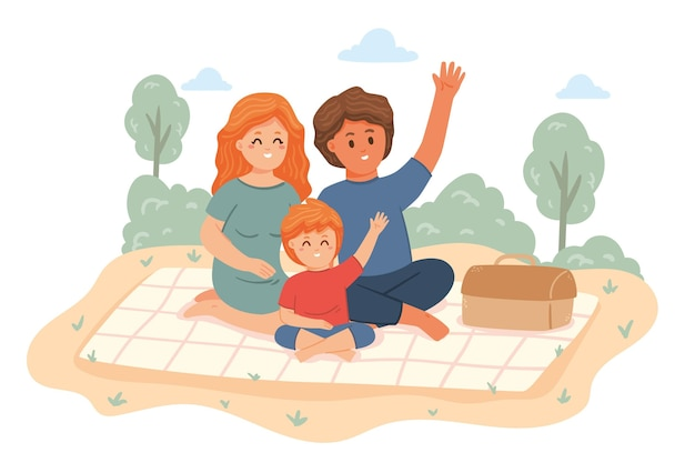 公園で手描きの家族のシーン