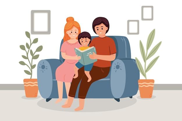 ソファに手描きの家族のシーン