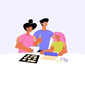手描きの家族のシーン