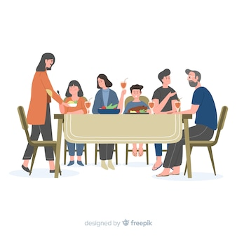 Hand drawn family sitting around table background
