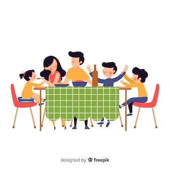 Hand drawn family sitting around table illustration