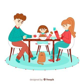 Hand drawn family sitting around table illustration