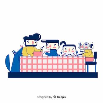 Hand drawn family sitting around table