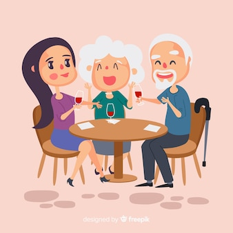 Hand drawn family sitting around table