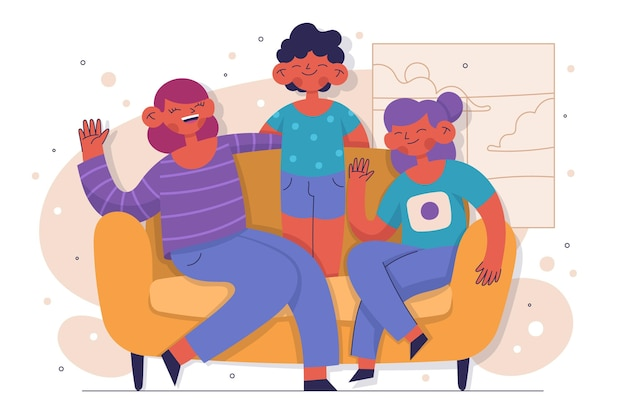 Hand drawn family sitting on couch
