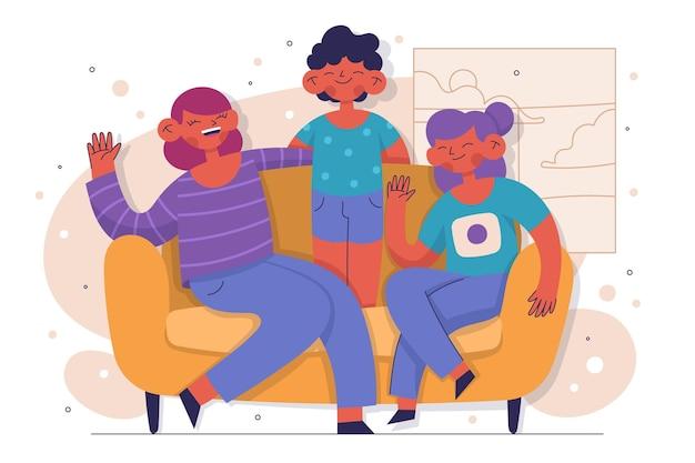 소파에 앉아 손으로 그린된 가족
