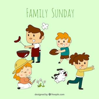 Hand drawn family sunday