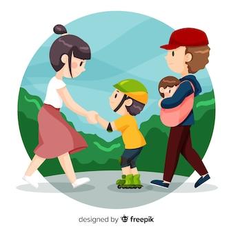 스케이트를 타는 방법을 가르치는 손으로 그린 가족