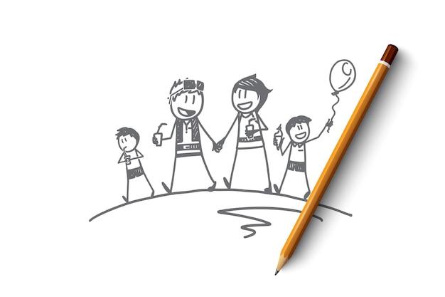 父と手描き家族時間の概念スケッチ