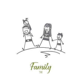 手描きの家族の時間の概念のスケッチ