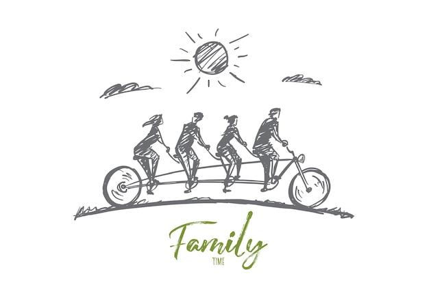 手描きの家族の時間の概念のスケッチ。