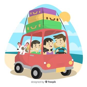 Famiglia disegnata a mano che viaggia in auto