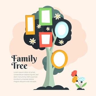 Hand drawn family tree chart