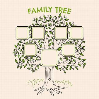 Grafico dell'albero genealogico disegnato a mano