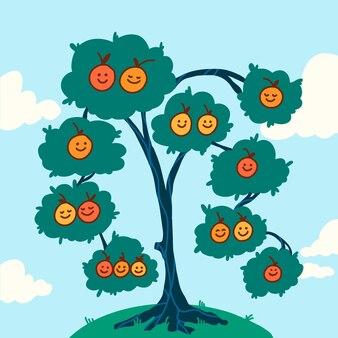 Hand drawnfamily tree with fruits