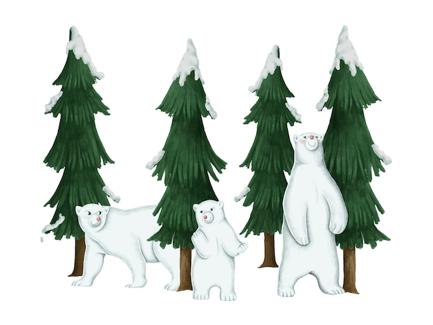 Hand drawn family of white polar bears