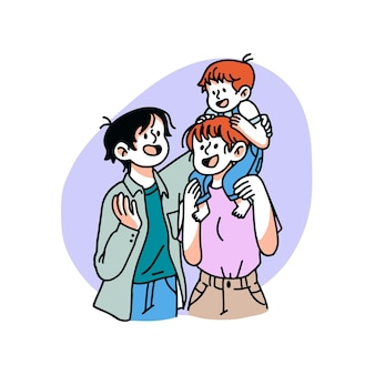 Famiglia disegnata a mano con illustrazione del bambino