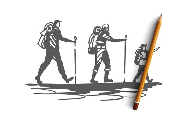 バックパックのコンセプトスケッチで山を旅する子供と手描き家族