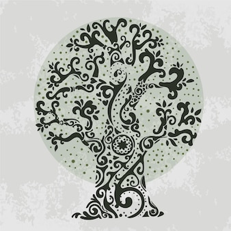 手描きの派手な枝の木の生活