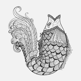 Hand drawn fantasy fish vector in zentangle style