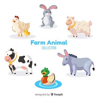 손으로 그린 농장 동물 모음