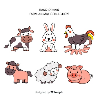 Hand drawn farm animal collection
