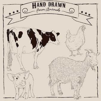 손으로 그린 농장 동물