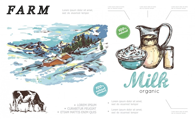 Composizione variopinta dell'azienda agricola disegnata a mano con il barattolo crema e il paesaggio rurale di inverno del bicchiere di latte con le case di campagna