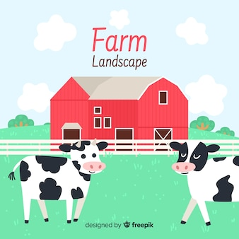 Hand drawn farm landscape background