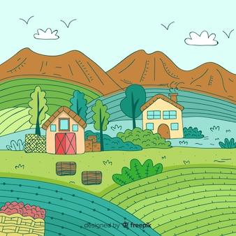 Hand drawn farm landscape background