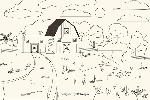 손으로 그린 농장 풍경 배경