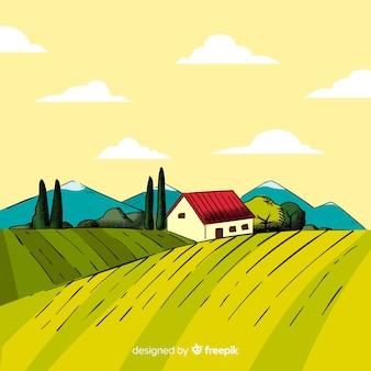 Ручной обращается фермы пейзажный фон