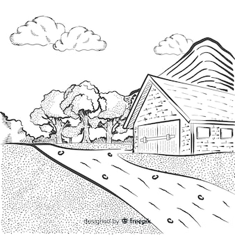Hand drawn farm landscape