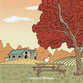 Hand drawn farm landscape
