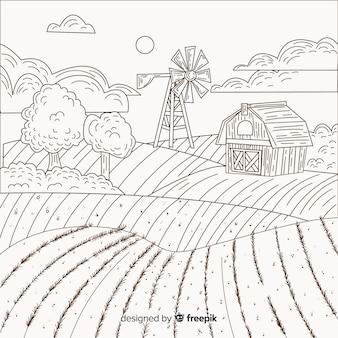 손으로 그린 농장 풍경