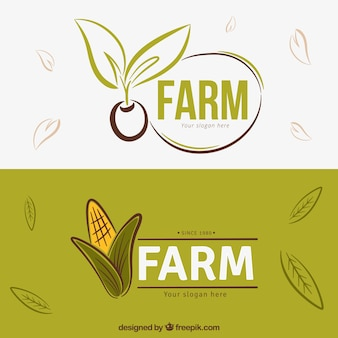 Hand drawn farm products logos
