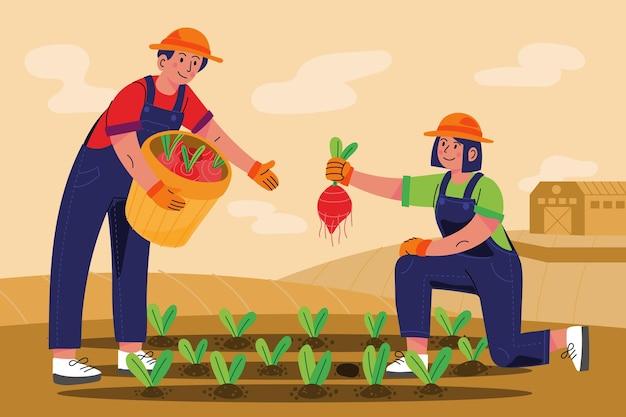 손으로 그린 농업 직업