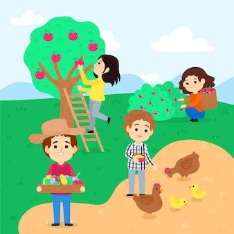手描きの農業の職業