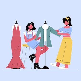 仕事で手描きのファッションデザイナー