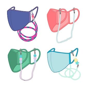 Collezione di cordini per maschera viso moda disegnata a mano