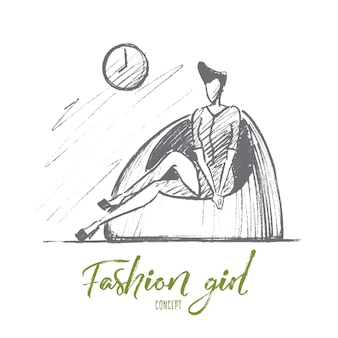 Нарисованный рукой эскиз концепции девушки моды