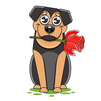 Нарисованная рукой иллюстрация моды романтической собачки бультерьера с розой в цветах