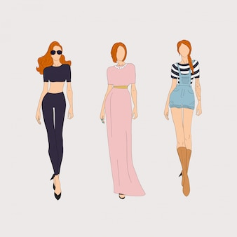 Hand drawn fashion models.  illustration concept.