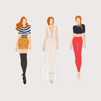 Hand drawn fashion models. illustration.