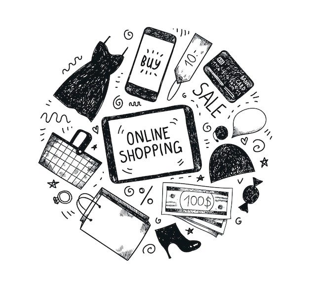 Набор рисованной моды интернет-магазин иконок. корзина, платье, компьютер, деньги, кредитная карта, обувь, сумка для покупок, мобильный телефон, бирка онлайн
