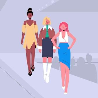 手描きのファッションショーの滑走路の図解